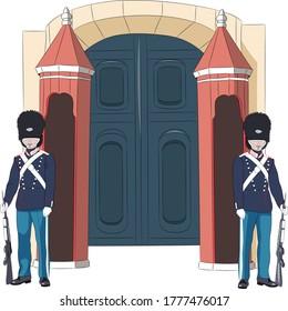 Danish royal guards in traditional uniform and bear caps on guard. Copenhagen. Denmark.