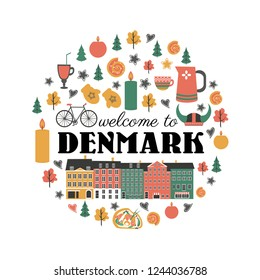 Danish symbols set in round frame with traditional food, travel icons vector illustration isolated, Nordic country landmark Copenhagen City Hall, candles, food, sweet, tableware, clothing for design