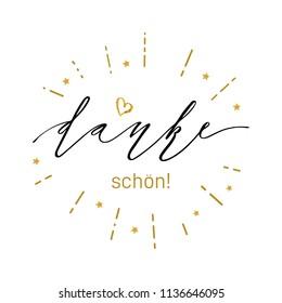 Danke inscription design. Modern brush calligraphy. Hand drawn lettering danke isolated on the white background. Danke vector illustration. Sticker for social media content, card, invitation, poster