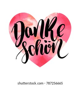 Danke schoen. Thank you in german. Vector hand drawn brush lettering on colorful watercolor heart isolated on white background. Modern handlettering postcard for printing, web pages and others.