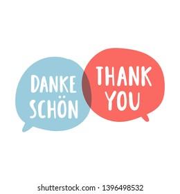 Danke, thank you. Bilingual translation concept. Vector hand drawn, lettering illustration on white background.