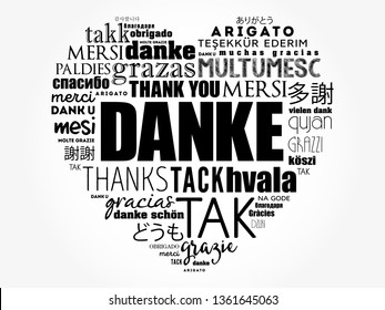 Danke (Thank You in German) Love Heart Word Cloud in different languages