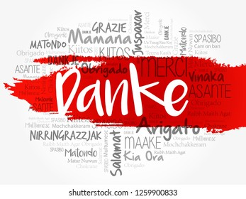 Danke (Thank You in German) Word Cloud background, all languages, multilingual for education