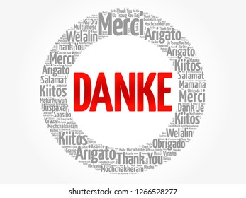 Danke (Thank You in German) word cloud in different languages, concept background
