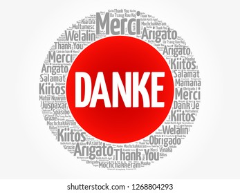 Danke Thank You in German word cloud in different languages, concept background