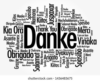 Danke (Thank You in German) word cloud background in different languages