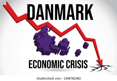 Danmark Map Financial Crisis Economic Collapse Market Crash Global Meltdown Vector Illustration.