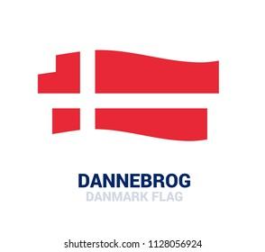 Dannebrog - national flag of danmark. Vector illustration of ribbons and stripes