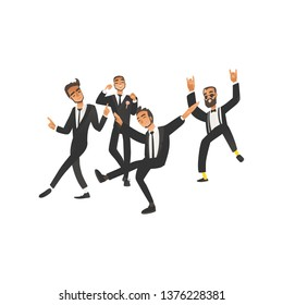 Dansing and happy groom and groomsman on wedding ceremony in flat cartoon style. Young wedding man, groom, isolated vector illustration on white background.