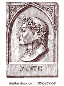 Dante Alighieri. Element for architecture, design on building for tattoo or t-shirt design. Symbol of science, psychology. Genius and creator of universe. engraved sketch hand drawn in vintage style.