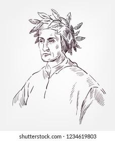 Dante Alighieri sketch style vector portrait