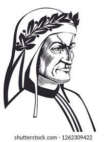 Dante Alighieri vector illustration engraved style. Isolated black and white.
