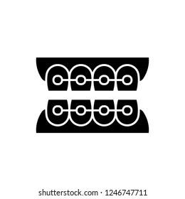 Dantist braces black icon, vector sign on isolated background. Dantist braces concept symbol, illustration