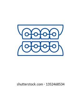 Dantist braces line icon concept. Dantist braces flat  vector symbol, sign, outline illustration.