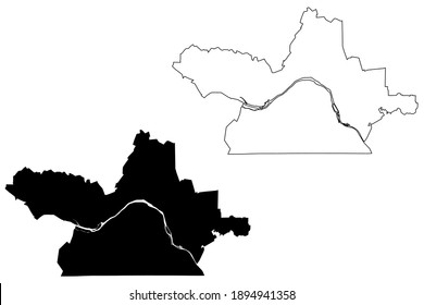 Danville city County, Commonwealth of Virginia (Independent city, U.S. county, United States of America, USA, U.S., US) map vector illustration, scribble sketch Danville map