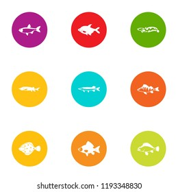 Dap fish icons set. Flat set of 9 dap fish vector icons for web isolated on white background
