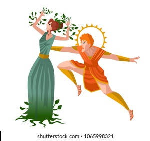 daphne greek mythology transforming into laurel plant and apollo