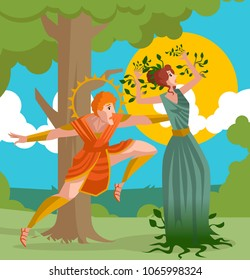 daphne greek mythology transforming into laurel plant and apollo
