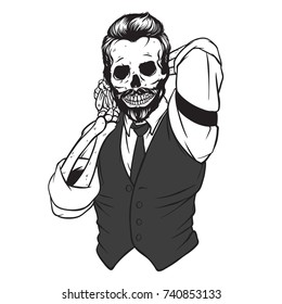 Dapper Skull Combing His Hair, Barber, Illustration for Logo, Vector Illustration