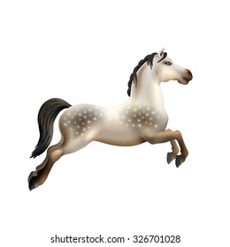 Dapple grey toy carousel horse isolated on white background realistic vector illustration