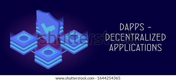 Dapps Decentralized Application Concept Fintech Opensource Stock Vector Royalty Free 1644254365