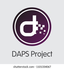 Daps DAPS - Vector Icon of Crypto Currency.