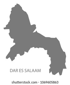 Dar es Salaam map of Tanzania grey illustration shape