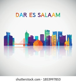 Dar es Salaam skyline silhouette in colorful geometric style. Symbol for your design. Vector illustration.