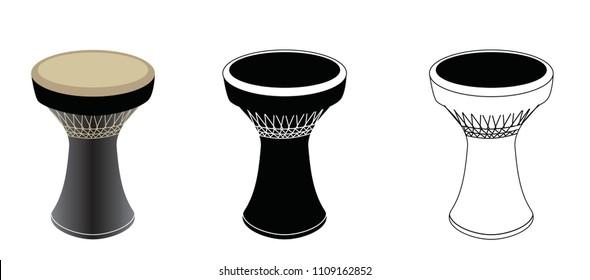 Darbuka Set, Percussive  Oriental Arabic Instrument - Vector Illustration Icon Isolated