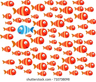 Dare to be different concept, Fearless concept, Confident concept. Group of fish illustration vector eps 10.