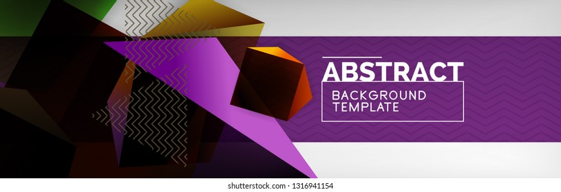 Dark 3d triangular low poly shapes abstract background, vector minimal geometric poster design
