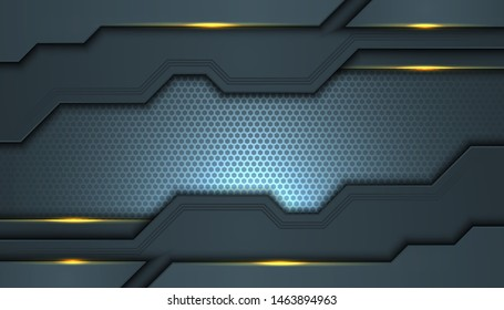 Dark abstract background with black overlap layers. Texture with golden effect element decoration. Luxury design concept.