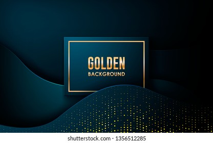 Dark abstract background with blue wave overlap layers. Realistic dimension rectangle shape with golden glitters dots element decoration. 3D Backdrop.