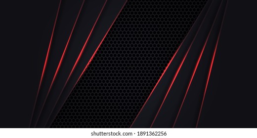 Dark abstract background with hexagon carbon fiber. Technology background with neon red luminous lines. Futuristic luxury modern backdrop.