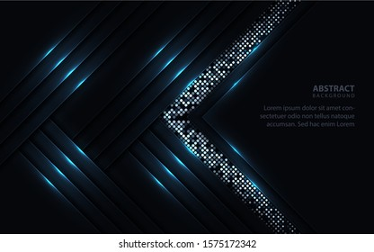 Dark abstract background with paper shapes overlap layers. Luxury and modern concept texture with silver glitters dots element decoration. Vector design template for use frame, cover, banner, card