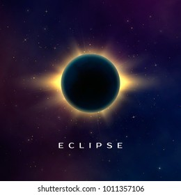 Dark abstract background with a solar eclipse. Total eclipse of the sun. Fantasy vector illustration