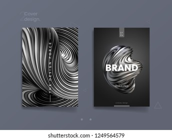 Dark abstract cover template with 3d silver twisted shape, can be used for luxury cosmetic brand, finance journal and brandbook design. Vector illustration