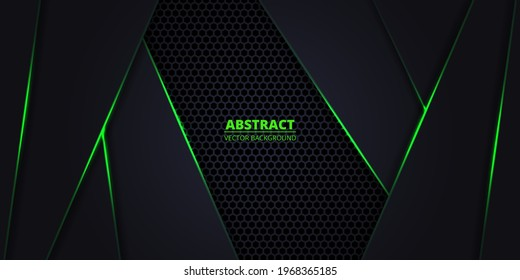 Dark abstract vector background with hexagon carbon fiber. Technology background with honeycomb grid and green luminous lines. Futuristic luxury modern backdrop.