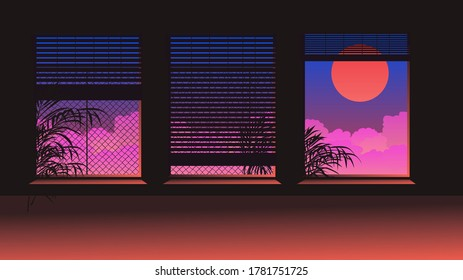 Dark ambient room. The window overlooks the landscape with sunset above the clouds. Scene in cartoon or anime style.