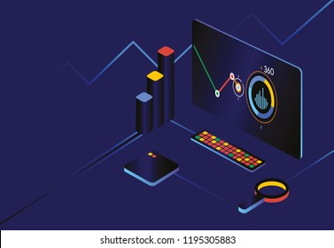Dark Analytics dashboard. Analytics 360 dashboard. Dark infographic with diagram business template vector.