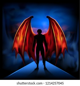 Dark Angel Silhouette of a man with fiery wings on the background of dark clouds. Illustration, vector. EPS-10.