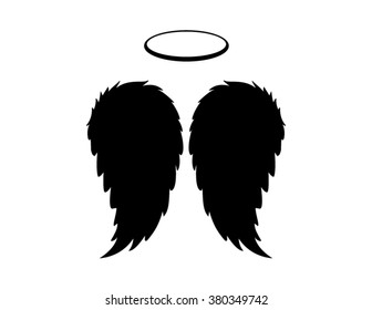Dark Angel Wings, feathers and halo. Vector icons, logos, design and graphic elements.