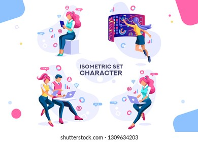 Dark application. Build internet interacting images. Interactive creative client profile. Customer mobile workspace situation. Office analysis 3d isolated on white background. Isometric people.