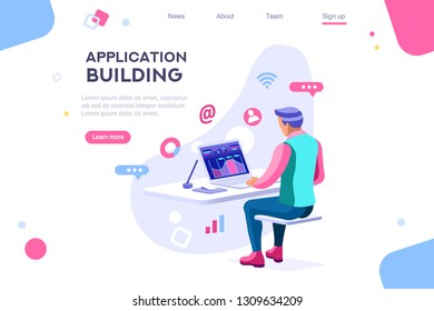 Dark application. Build internet interacting images. Interactive creative client profile. Customer mobile workspace situation. Office analysis 3d isolated on white background. Isometric illustration.