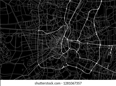 Dark area map of Bangkok, Thailand. This artmap of Bangkok contains geography lines for land mass, water, major and minor roads.