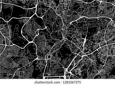 Dark area map of Kuala Lumpur, Malaysia. This artmap of Kuala Lumpur contains geography lines for land mass, water, major and minor roads.