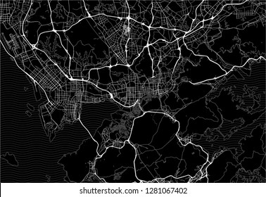Dark area map of Shenzhen, China. This artmap of Shenzhen contains geography lines for land mass, water, major and minor roads.