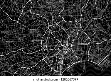 Dark area map of Tokyo, Japan. This artmap of Tokyo contains geography lines for land mass, water, major and minor roads.