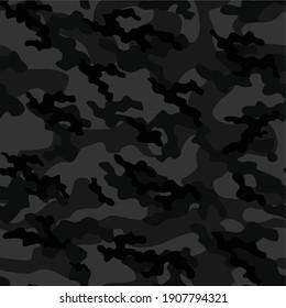 dark army camouflage vector seamless pattern