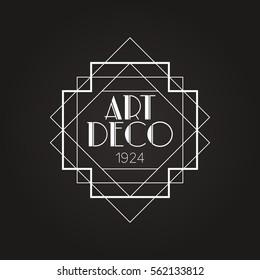 Dark Art Deco Vector Badge Logo